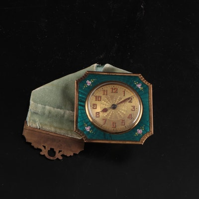 Continental European Guilloche Enamel Hanging Boudoir Alarm Clock, Early 20th C.