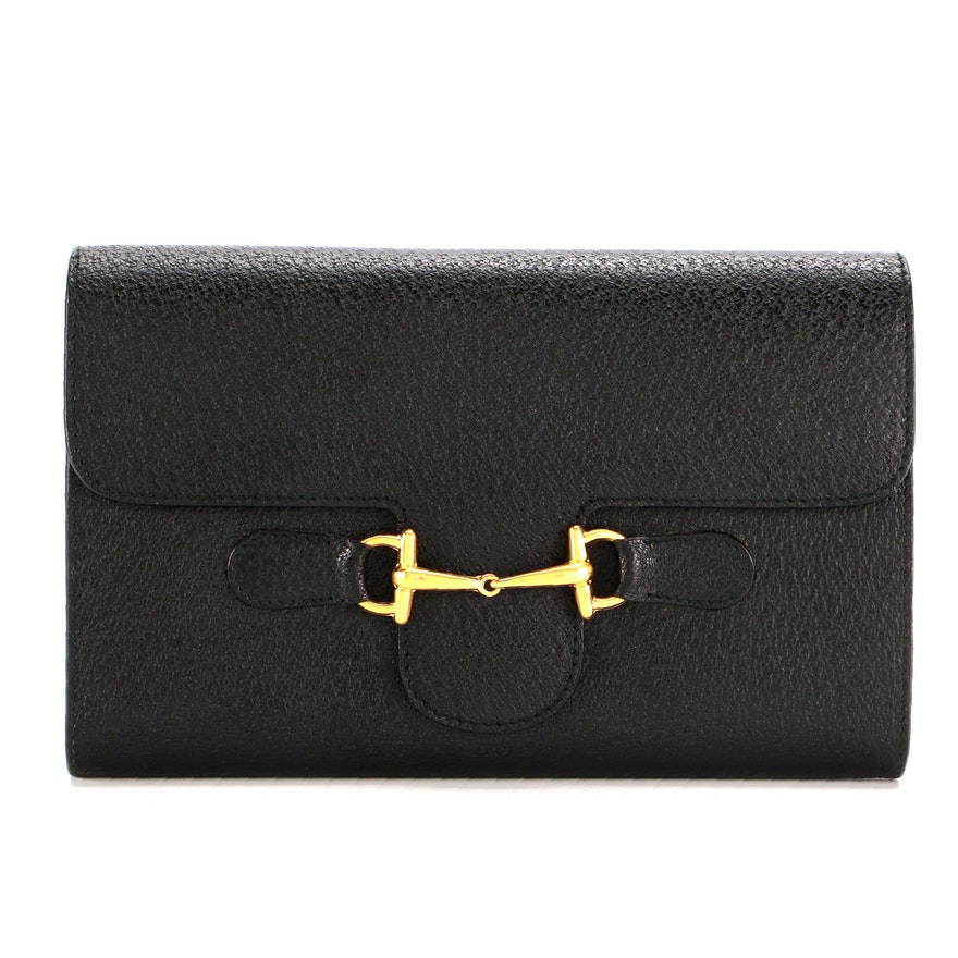Gucci Horsebit Continental Wallet in Black Cinghiale Leather