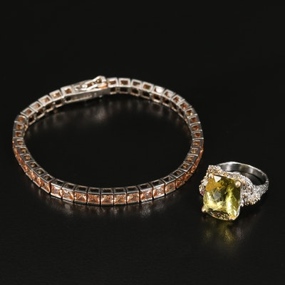 Sterling Cubic Zirconia Line Bracelet with Citrine and Ruby Ring