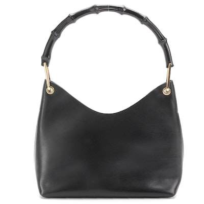 Gucci Black Leather Bamboo Handle Handbag with Zip Pouch