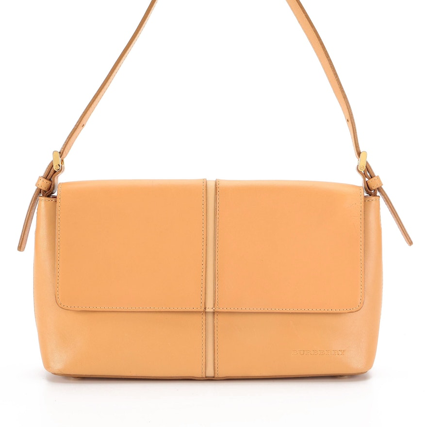 Burberry Flap Front Shoulder Bag in Tan Smooth Leather