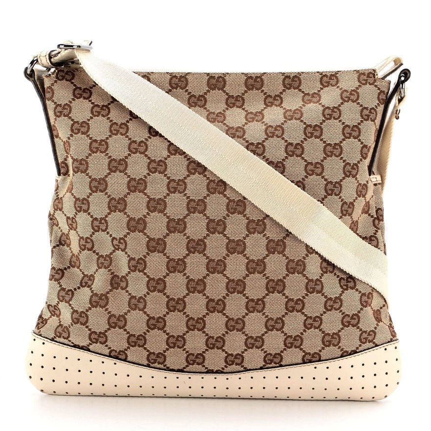 Gucci Flat GG Canvas and Perforated Leather Crossbody