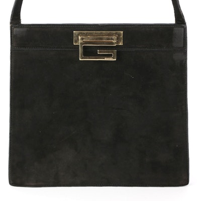 Gucci Shoulder Bag in Black Faux Suede and Leather with Square G Logo Clasp