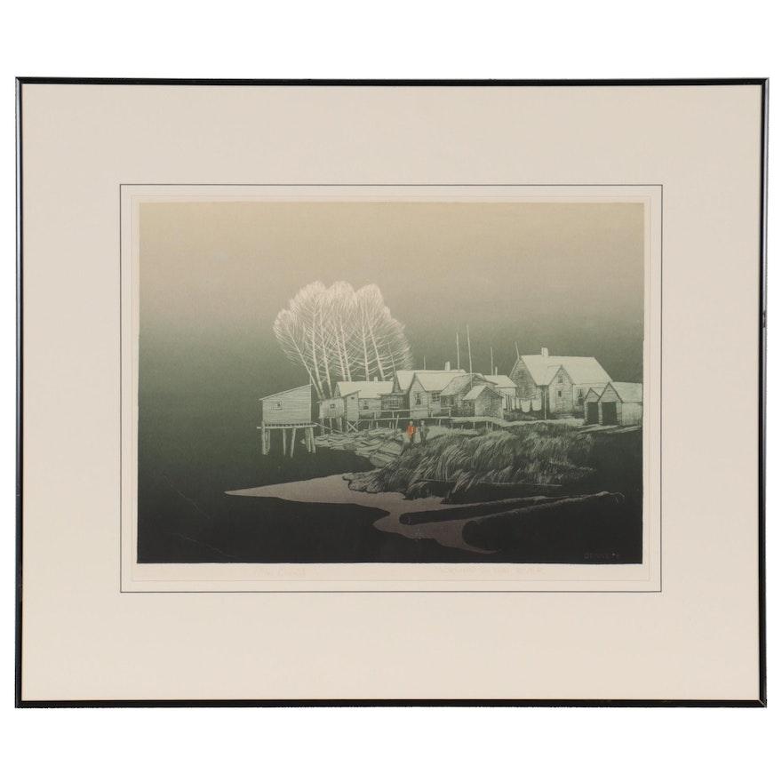 "Elton Bennett Serigraph ""Morning on the River,"" Mid-20th Century"