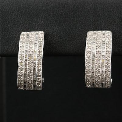 10K 1.01 CTW Diamond Multi-Row Earrings