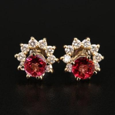 14K Topaz Stud Earrings with Diamond Jackets