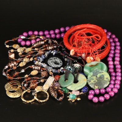 Beaded and Disk Necklaces Featuring Murano Glass Bead Necklace