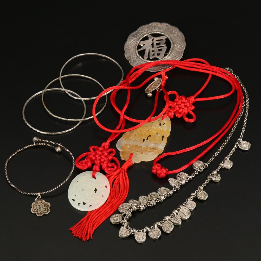 Carved Calcite Necklace and Other Jewelry