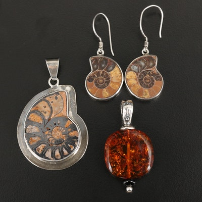 Sterling Pendants and Earrings with Ammonite, Amber and Black Onyx