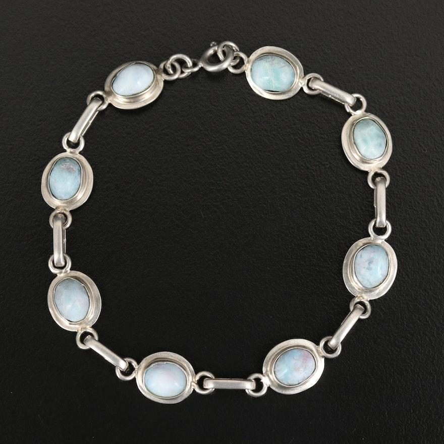 Sterling Larimar Line Bracelet