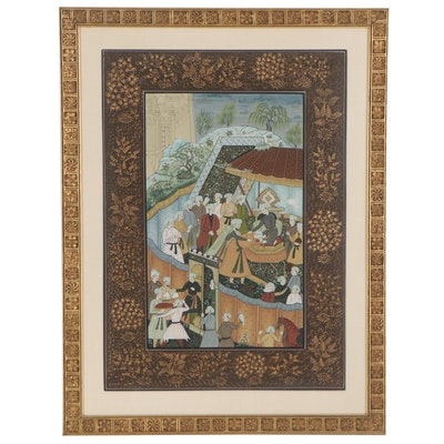 Mughal Style Royal Audience Gouache Painting