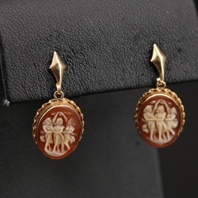 Vintage 14K Three Graces Shell Cameo Earrings