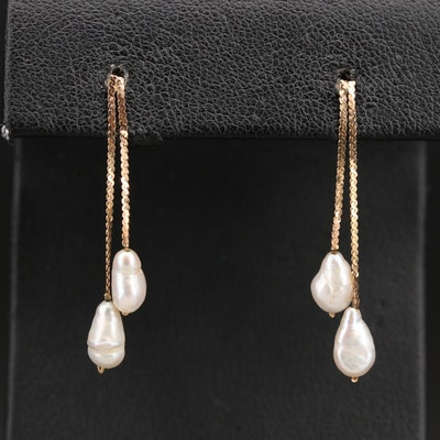 14K Negligée Style Baroque Pearl Earrings