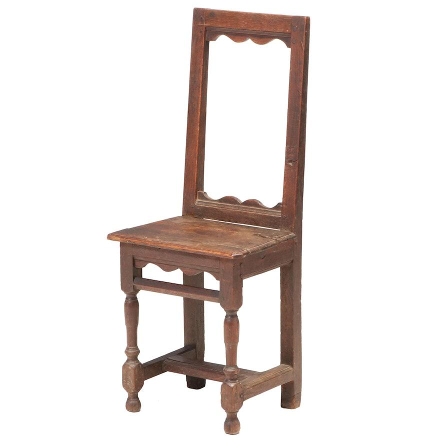 English Oak Backstool, Late 17th Century