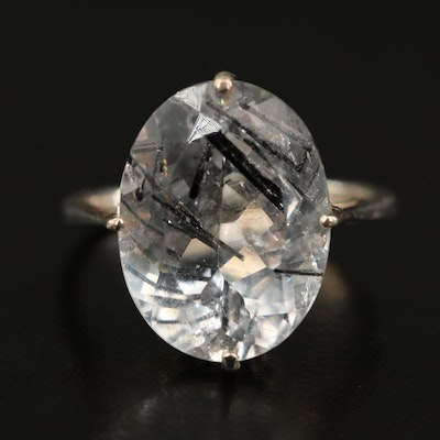 Sterling Silver Tourmalinated Quartz Ring