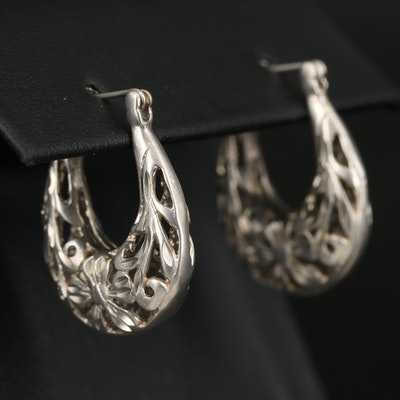 Sterling Silver Openwork Flower Hoop Earrings