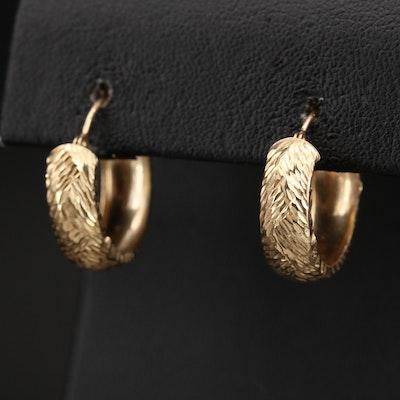 14K Diamond Cut Textured Hoop Earrings