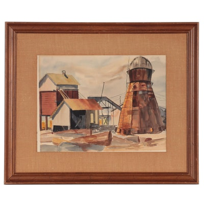 V.L. Gant Watercolor Painting of Industrial Buildings, Late 20th Century