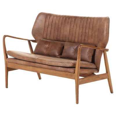 """Blue Ocean Traders """"Helsinki"""" Modernist Style Ash and Brown Leather Loveseat"""
