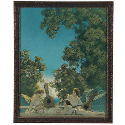 """Offset Lithograph After Maxfield Parrish """"The Lute Players"""""""