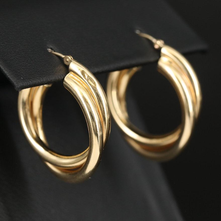 14K Double Tube Hoop Earrings