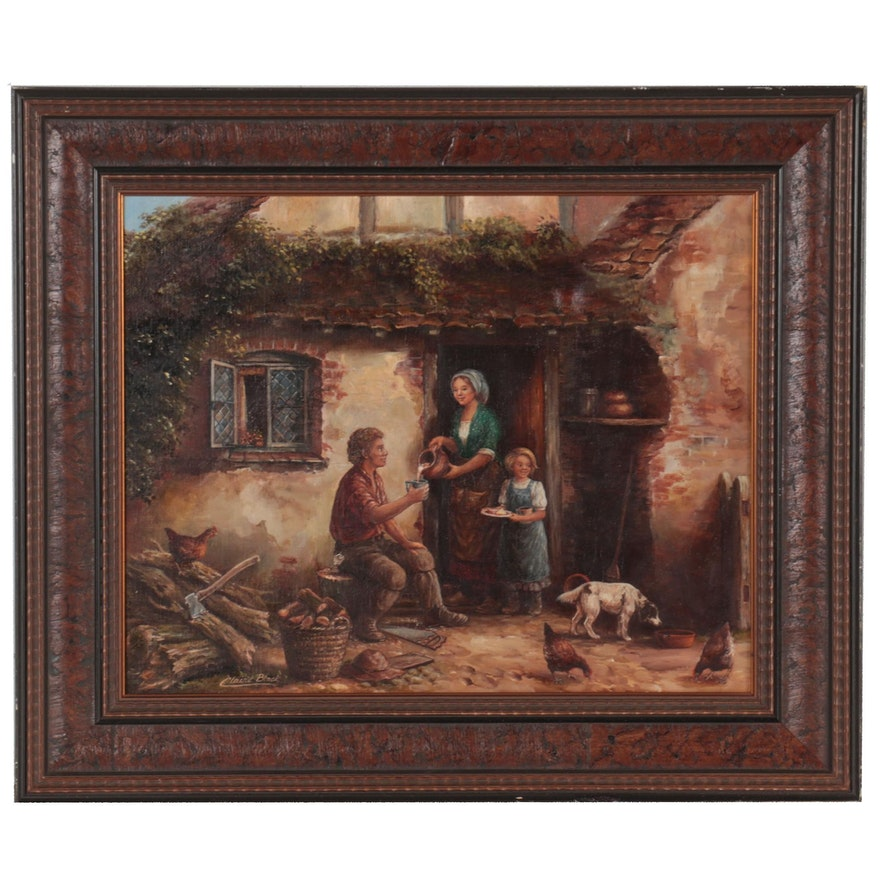 Claire Black Narrative Oil Painting of Afternoon Lunch, Mid-20th Century