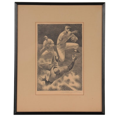 """Fletcher Martin Lithograph """"Double Play,"""" Mid-20th Century"""