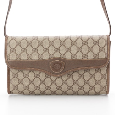 Gucci Convertible Clutch Purse in GG Supreme Canvas with Leather Trim