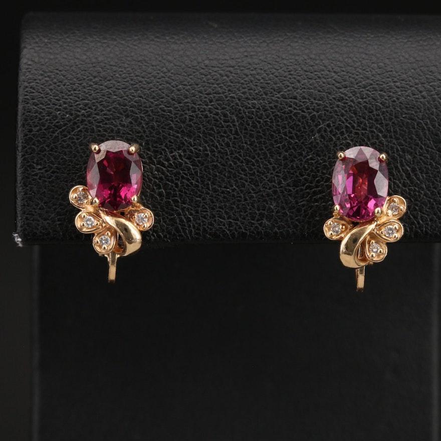 14K Rhodolite Garnet and Diamond Earrings