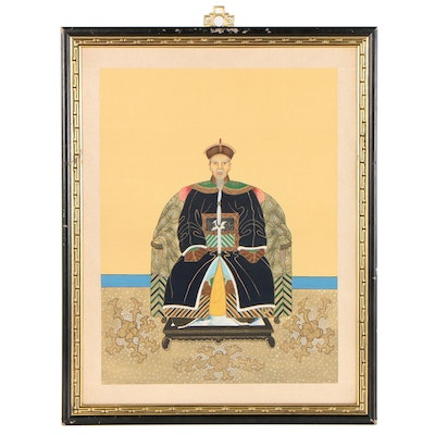 Gouache Painting of Chinese Ancestor Portrait