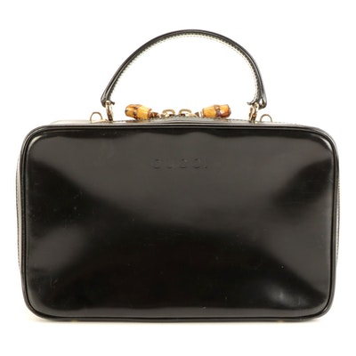 Gucci Top Handle Bag in Glazed Black Leather with Bamboo Zipper Pulls