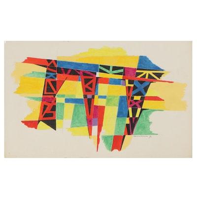 "Leonard Maurer Abstract Acrylic Painting ""Bridges,"" 1970"
