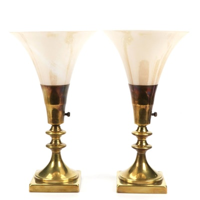 Brass and Slag Glass Torchiere Boudoir Lamps