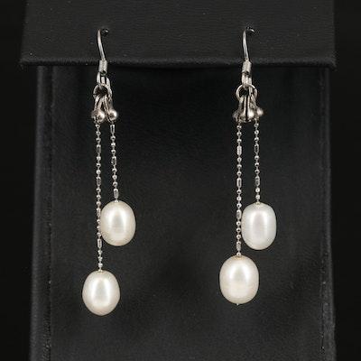 Pearl Bar and Bead Chain Earrings