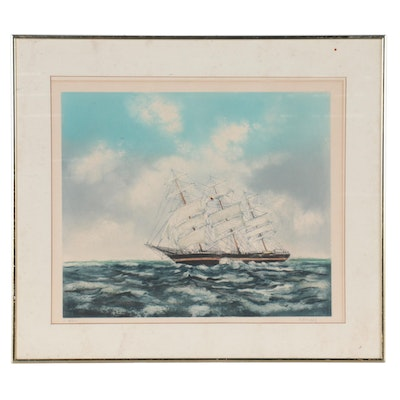 Nautical Etching With Aquatint of Ship at Sea, Late 20th Century