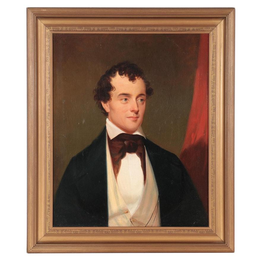 American School Portrait Oil Painting of Gentleman, Mid-Late 19th Century