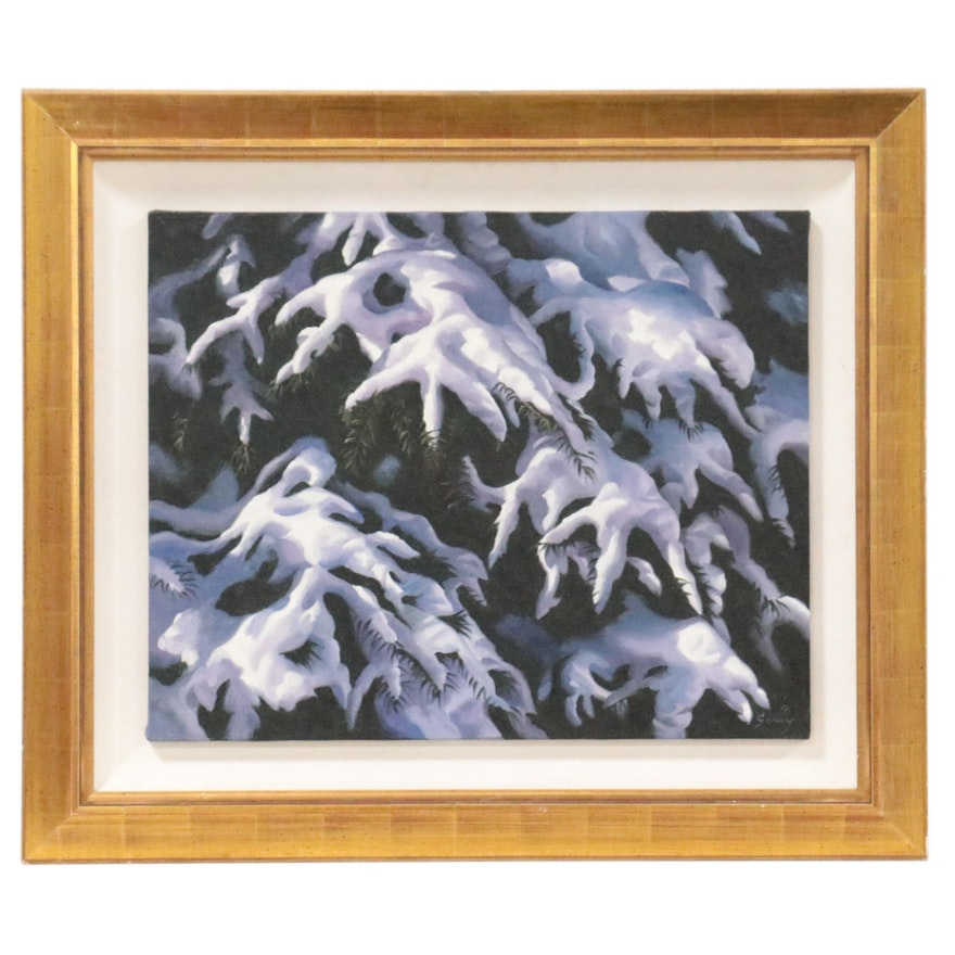 Michael Gerry Oil Painting of Snow-Covered Trees
