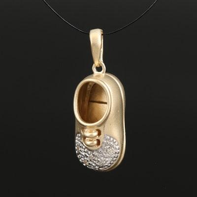 14K Diamond Baby Shoe Charm Pendant