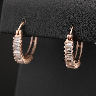 Sterling Sapphire Hoop Earrings