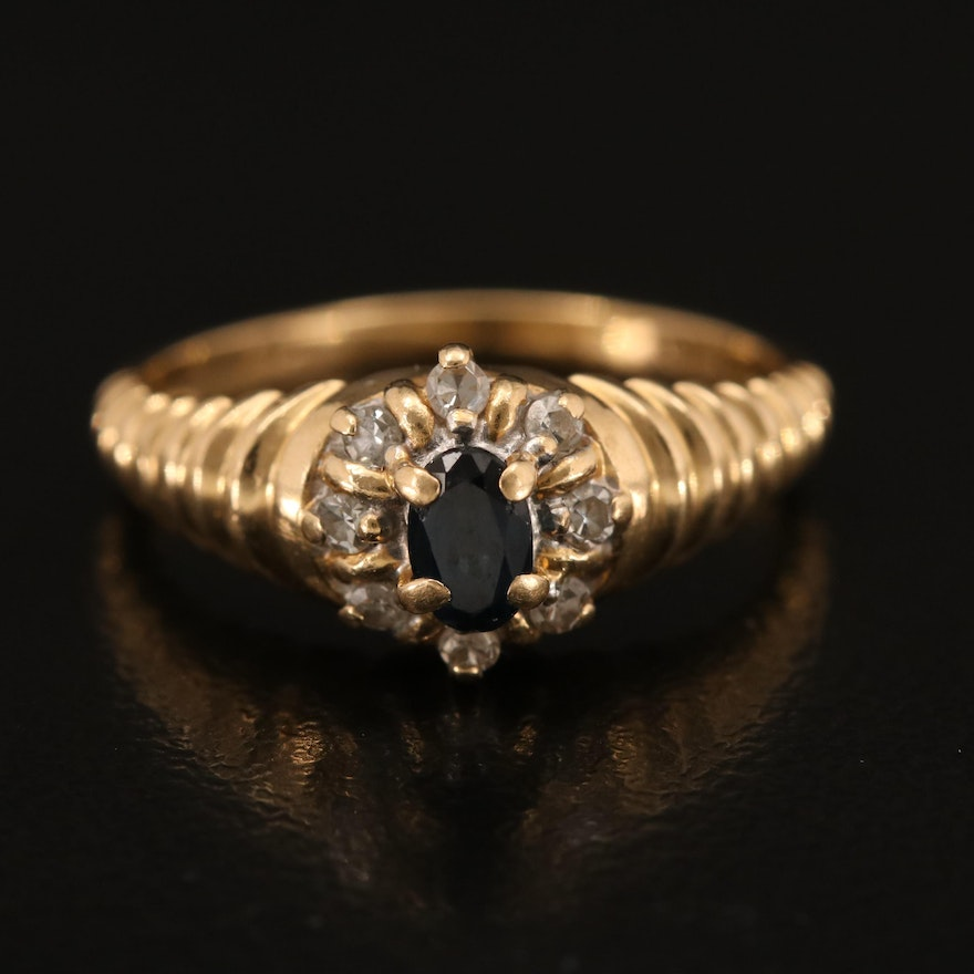 14K Sapphire and Diamond Ring with Fluted Shoulders