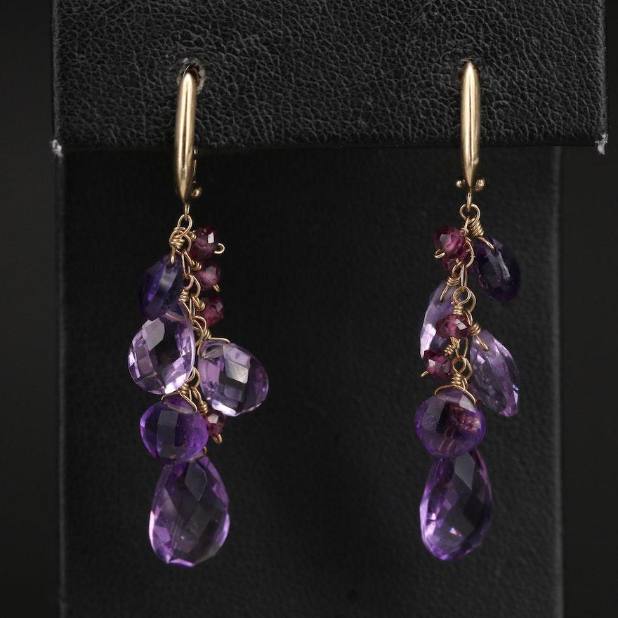 14K Amethyst Cluster Earrings
