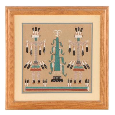"Frank Martin Navajo Sand Painting ""Yei and Corn,"" 1996"