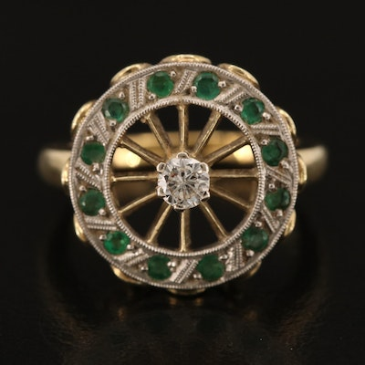 14K Openwork Diamond and Emerald Ring with Palladium Accents