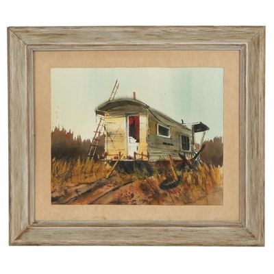 Betty Stroppel Landscape Watercolor Painting of Trailer, Mid-20th Century