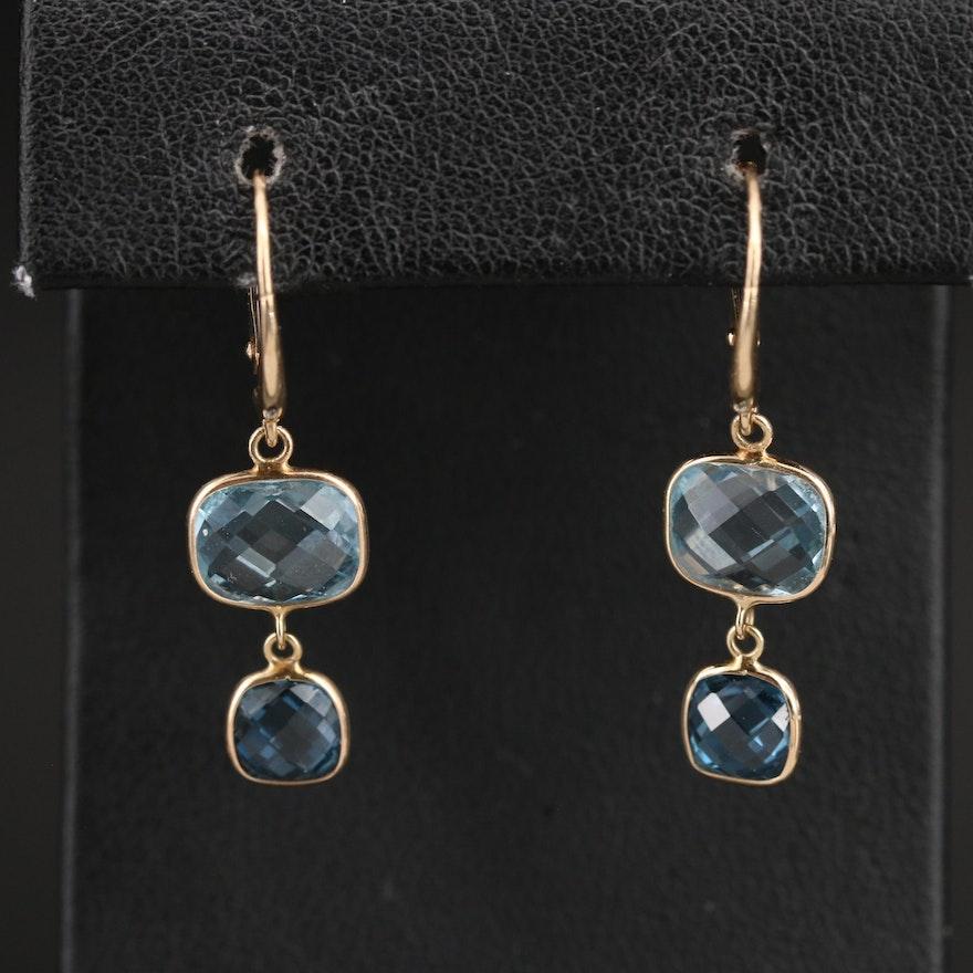 14K London Blue and Sky Blue Topaz Drop Earrings