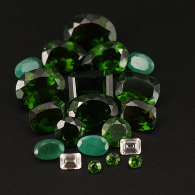 Loose 24.58 CTW Mixed Faceted Emerald, Diopside and Zircon