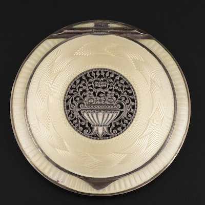 Viennese 935 Silver and Guilloche Enamel Makeup Compact, Early 20th Century
