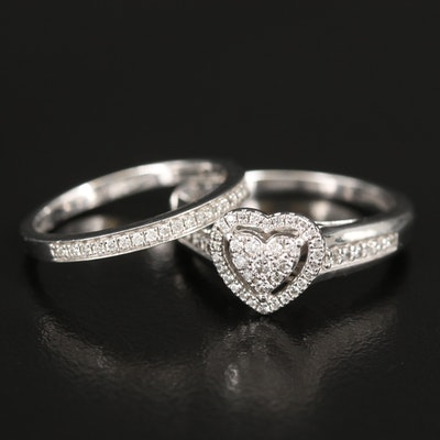 Sterling Diamond Heart Ring and Enhancer