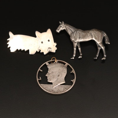 Thoroughbred Horse Pin, Cut-Out Coin Pendant and Mexican Anne Harvey Terrier Pin