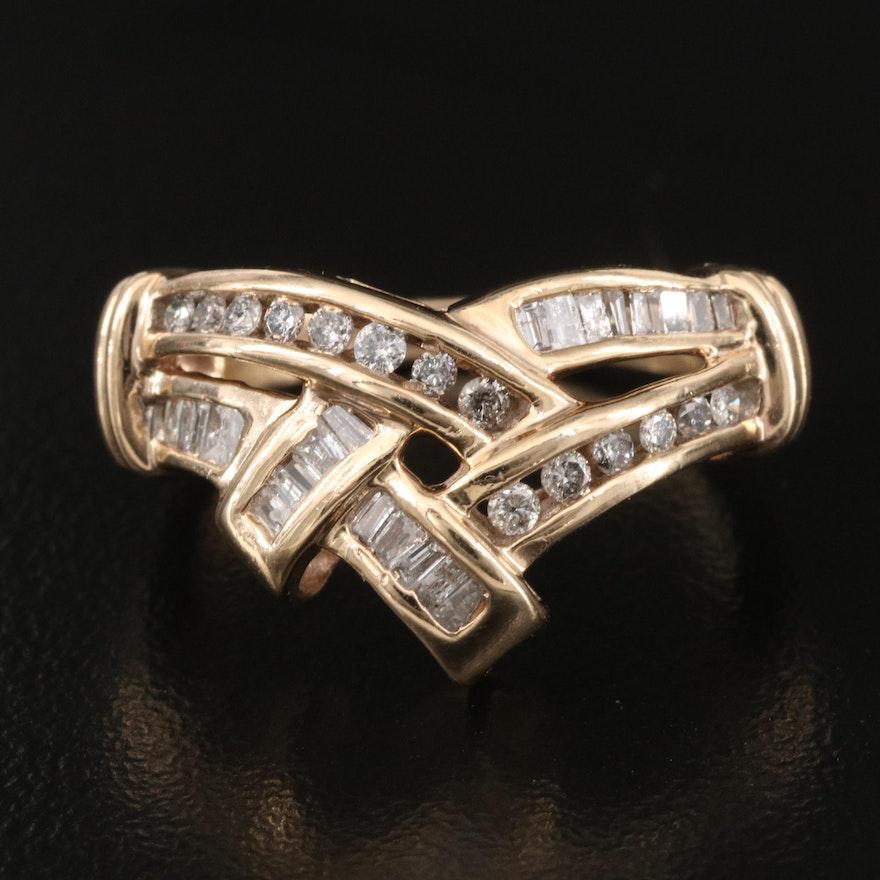10K Diamond Chevron Crossover Ring